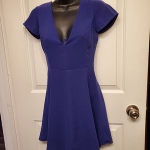 Wilfred Fit and Flare Deep Blue Midi Dress